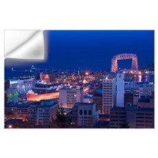High angle view of a city, Canal Park, Duluth, Min Wall Decal