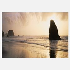 Silhouette of rocks on the beach, Fort Bragg, Mend