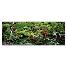 Pond in a formal garden, Japanese Tea Garden, Koza Poster