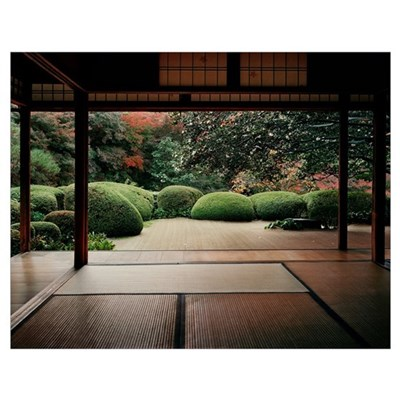 Trees in front of a temple, Shisendo, Kyoto Prefec Poster