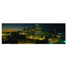 City lit up at night, Newark, New Jersey Framed Print