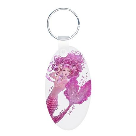 Pink Ribbon Mermaid Aluminum Oval Keychain