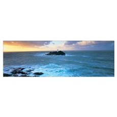 Lighthouse on an island, Godvery Lighthouse, Hayle Poster