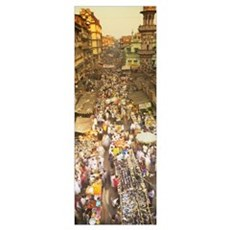High angle view of crowd at a street market, Mumba Poster
