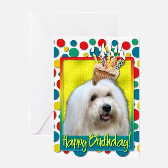 Birthday Cupcake - Coton de Tulear Greeting Card