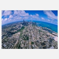 Aerial view of buildings in a city, Lake Michigan,