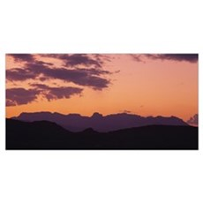 Silhouette of mountain ranges, Chisos Mountains, B Canvas Art