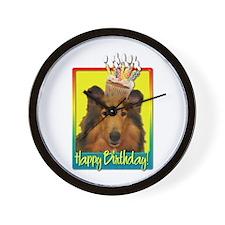 Birthday Cupcake - Collie Wall Clock