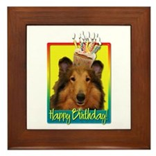 Birthday Cupcake - Collie Framed Tile
