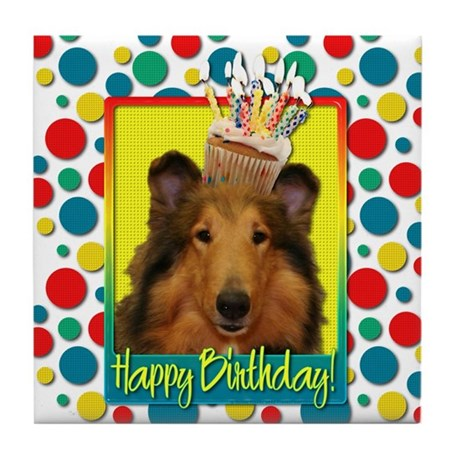 Birthday Cupcake - Collie Tile Coaster