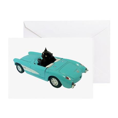 Cat Driving Car Greeting Card