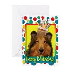 Birthday Cupcake - Collie Greeting Card