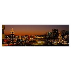 Buildings lit up at night, La Giralda, Kansas City Poster