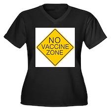 No Vaccine Zone by Tigana Women's Plus Size V-Neck