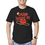 Tristan Lassoed My Heart Men's Fitted T-Shirt (dar