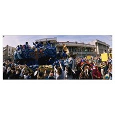 Crowd of people cheering a Mardi Gras Parade, New  Framed Print
