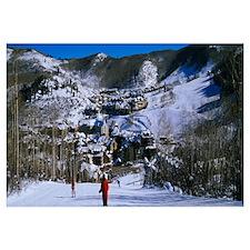 Skiers skiing, Beaver Creek Resort, Colorado