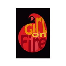 Girl On Fire Flame Rectangle Magnet