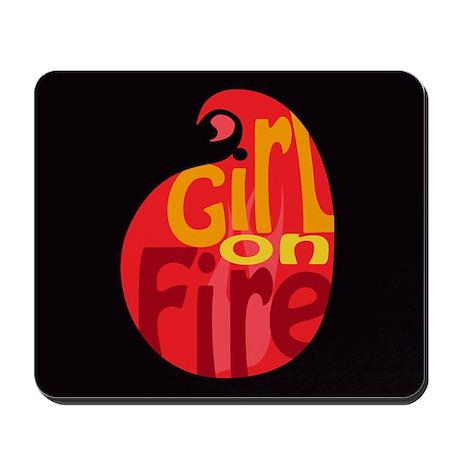 Girl On Fire Flame Mousepad