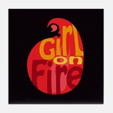 Girl On Fire Flame Tile Coaster