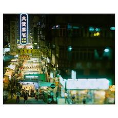 High angle view of a market lit up at night, Yau M Poster
