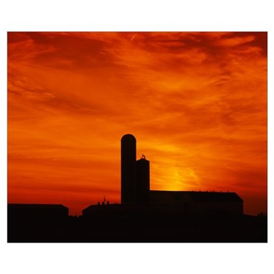 Silhouette of a barn and a silo at sunset, Pennsyl Poster