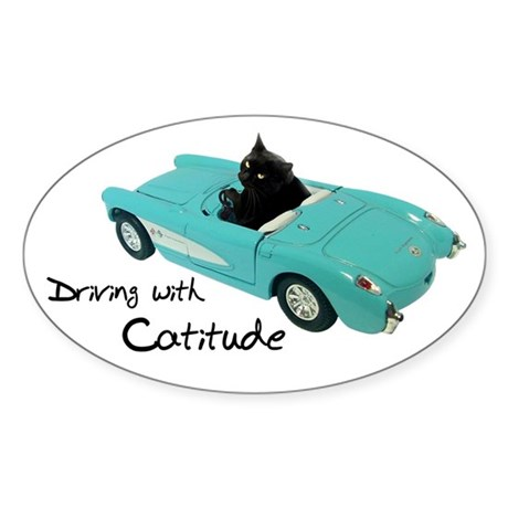 Driving with Catitude Sticker (Oval)