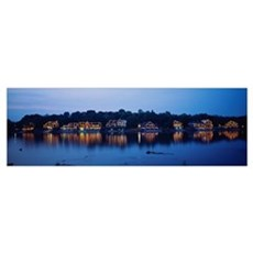 Boathouse Row lit up at dusk, Philadelphia, Pennsy Poster