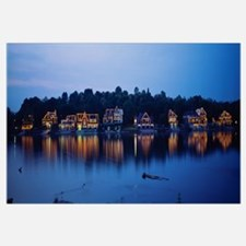 Boathouse Row lit up at dusk, Philadelphia, Pennsy