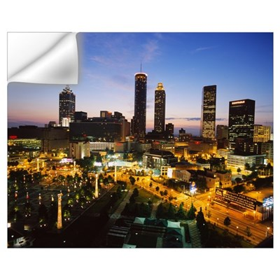 High angle view of buildings lit up at sunset, Cen Wall Decal
