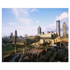 High angle view of a park, Centennial Olympic Park Framed Print