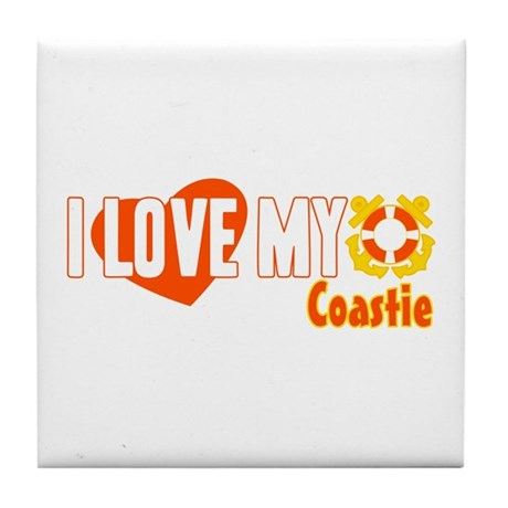 I Love My Coastie Tile Coaster