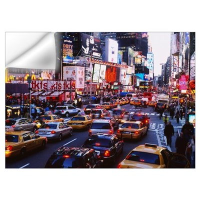 Traffic on a road in a city, Times Square, Manhatt Wall Decal