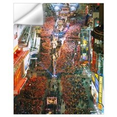 High angle view of crowd on the street celebrating Wall Decal