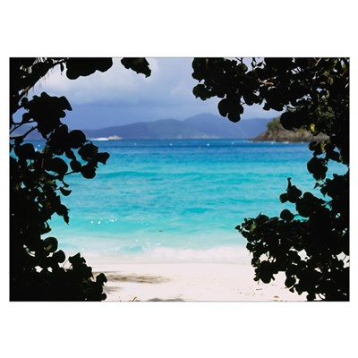 Panoramic view of a beach, Cinnamon Bay, St. John, Poster