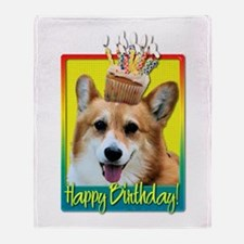 Birthday Cupcake - Corgi Throw Blanket