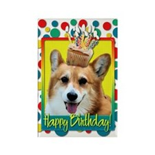 Birthday Cupcake - Corgi Rectangle Magnet