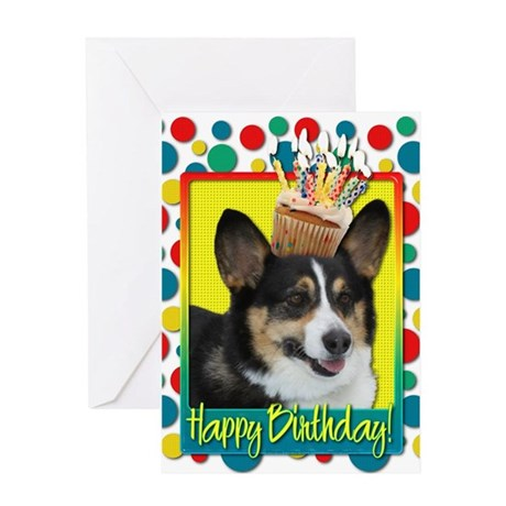 Birthday Cupcake - Corgi Greeting Card