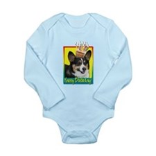 Birthday Cupcake - Corgi Long Sleeve Infant Bodysu