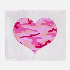 Pink Camo Heart Throw Blanket