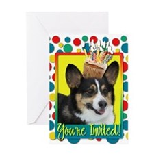 Invitation Cupcake - Corgi Greeting Card
