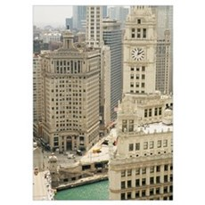 Clock tower along a river, Wrigley Building, Chica Poster