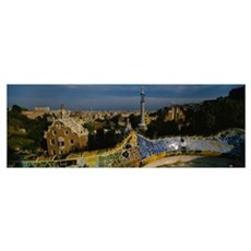 High angle view of a city, Parc Guell, Barcelona,  Poster