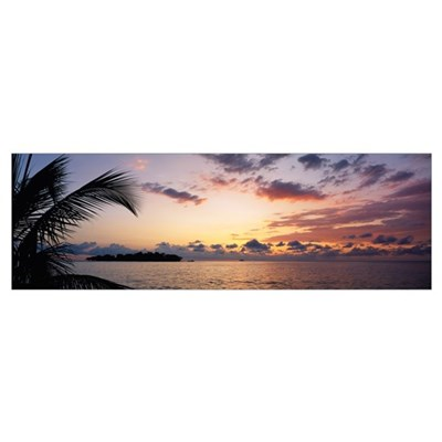 Panoramic view of sea at dusk, Negril, Jamaica Poster