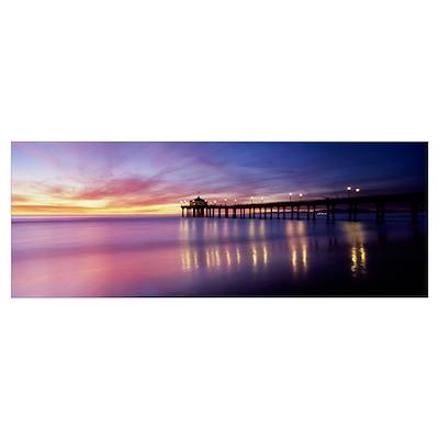 Reflection of a pier in water, Manhattan Beach Pie Poster