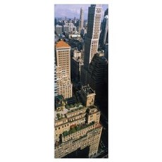 High angle view of buildings in a city, Manhattan, Poster