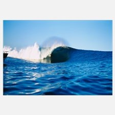 Surfer surfing in the ocean, Tahiti, French Polyne