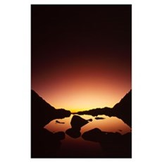 View Of Sunrise From Mount Whitney Poster