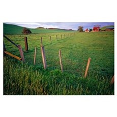 Landscape With Farm And Fenceline Poster