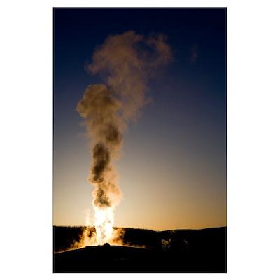 Old Faithful Geyser Erupting At Sunset Poster